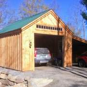 14x20 One Bay Garage with partially enclosed 8x20 overhang