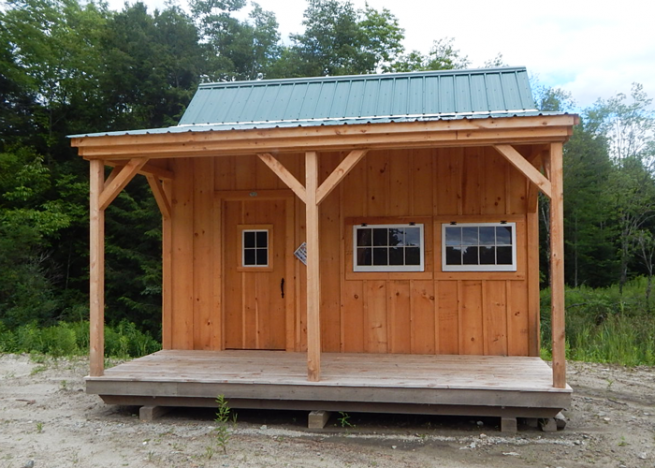 16x16 Homesteader post and beam cottage with a covered porch