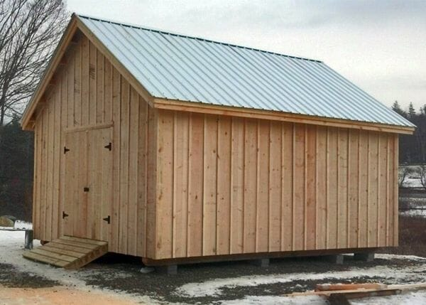 16x20 Barn with pine board and batten siding, double barn doors, pressure treated ramp and a corrugated metal roof (silver galvanized color upgrade)