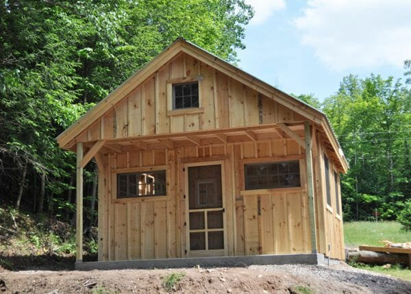 16x20 Vermont Cottage Option C with pine board and batten siding