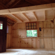 16x20 Vermont Cotage interior porch, hinged windows and single door