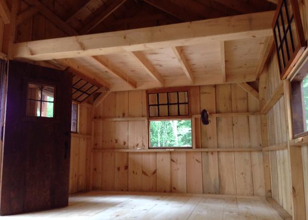 16x20 Vermont Cotage interior porch, hinged windows and single door