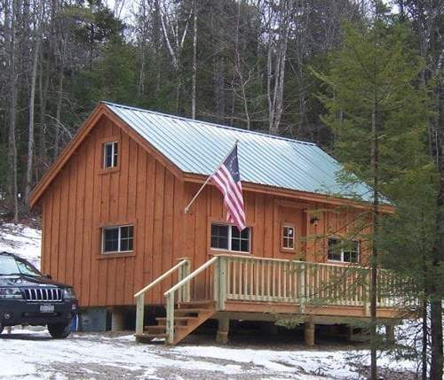 16x20 Vermont Cottage B with an Evergreen corrugated metal roof