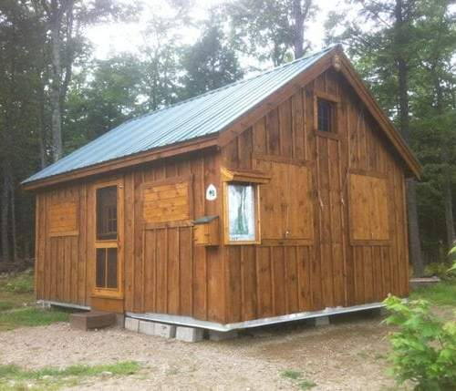 16x20 Vermont Cottage B post and beam summer camp build at a state forest