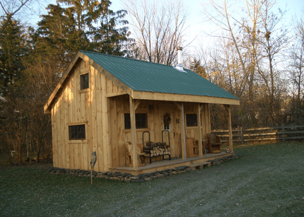 16x20 Vermont Cottage A includes an Evergreen corrugated metal roof and pine board and batten siding