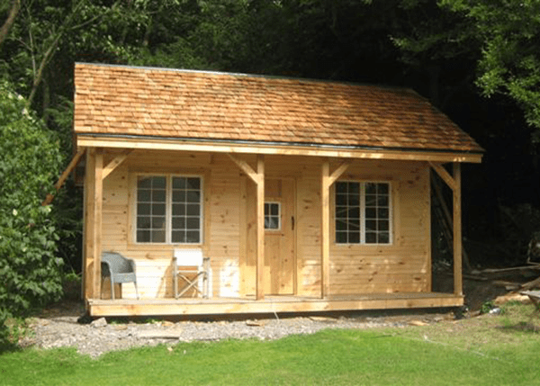 16x20 Vermont Cottage with cedar shingle roof and tongue and groove siding