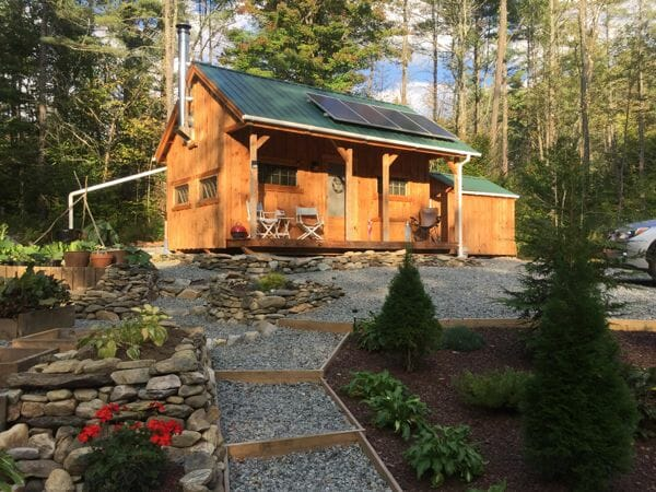 This 16x20 Vermont Cottage is being used as a post and beam, off-grid cabin in New England