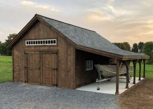 16x24 One Bay Garage with overhang, roof, window and door modificaitons