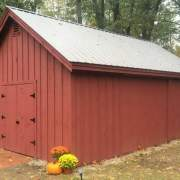 16x24 Barn with Silver Galvanized roof color upgrade.