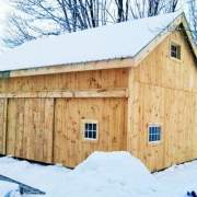 20x30 Two Bay Garage with sliding barn doors, extra windows and enclosed overhang
