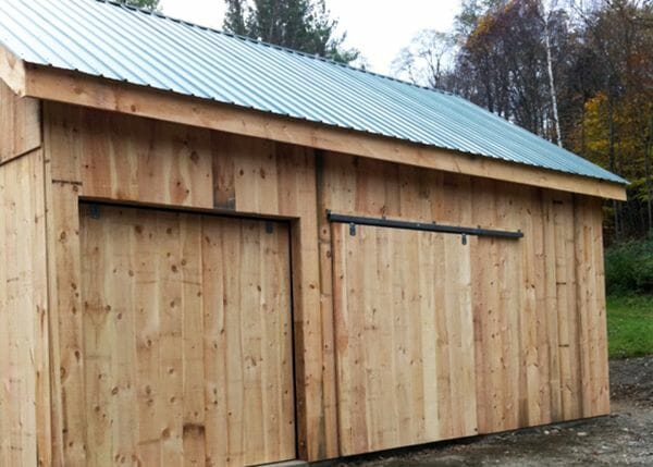20x30 Two Bay Garage with hanging barn doors