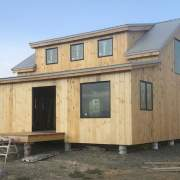 20x30 Vermont Cabin with Shed Dormers and Enclosed Overhang with lots of insulated windows