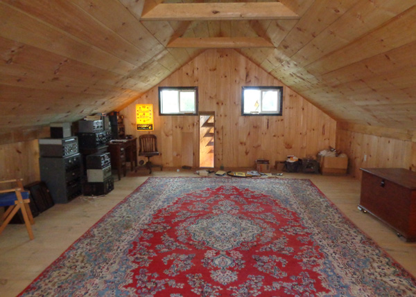 Vermont Cabin Loft with an area rug