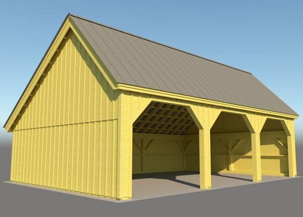 24x36 Equipment Shed drawing with three bays