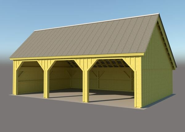 24x36 Equipment Shed with rough sawn hemlock post and beam frame
