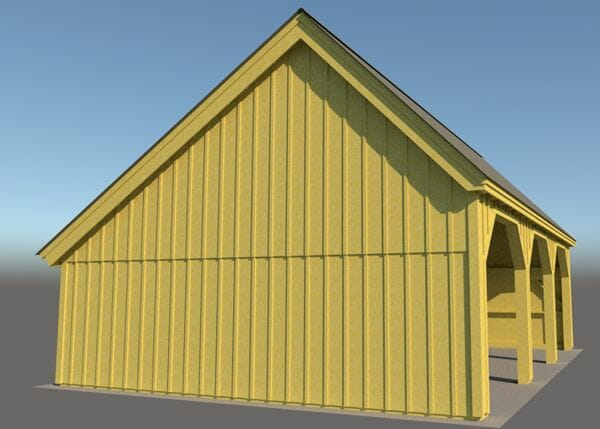 24x36 Equipment Shed with pine board and batten siding