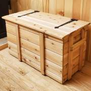 wood cedar chest with fliptop lid for storing wood pellets, blankets and linens, or games and toys