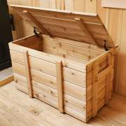 This cedar pellet box holds several bags of pellets for your pellet stove.