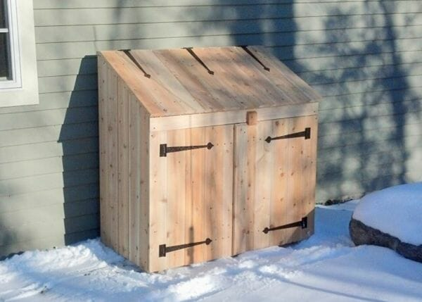 2x4 Garbage Bin with double doors and fliptop lid