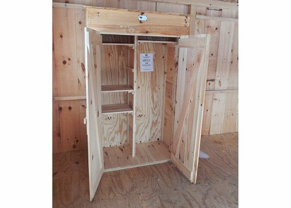 2x4 Garden Closet double doors open up to adjustable shelving