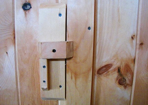 The Garden Closet Door includes a wooden latch made of pine