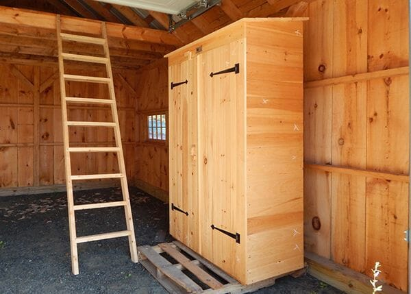 2x4 Garden Closet is constructed of pine tongue and groove lumber