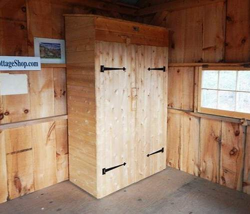 2x4 Garden Closet with a set of double doors and decorative iron hinges