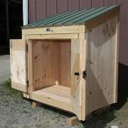 3x5 Garbage Bin small storage shed with green metal roof