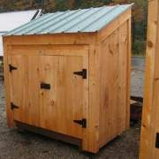 3x5 Garbage Bin with double doors, fastening hardware and a green metal roof