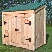 3x5 Garbage Bin with Evergreen metal roof
