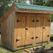 4x10 Garbage Shed with evergreen corrugated metal roof