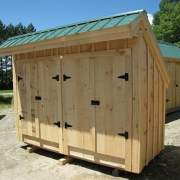 4x10 Garbage Shed with two pine double doors and pine board and batten sidnig.