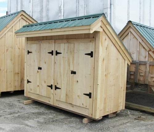 4x10 Garbage Shed fully assembled unit or example of complete kit built
