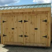 4x10 Garbage Shed with two sets of pine double doors with steel hinges and whitcomb latches