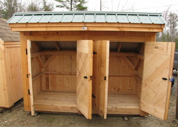4x10 Garbage Shed with two sets of double doors wide open for a peek at the interior