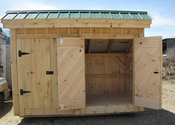 4x10 Garbage Shed with one set of the double doors wide open