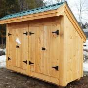 4x10 Garbage Shed with evergreen metal roof, pine siding and two sets of double doors