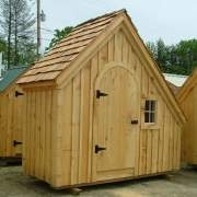 4x10 Hardware Shed with roof upgrade, arched door and barn sash window