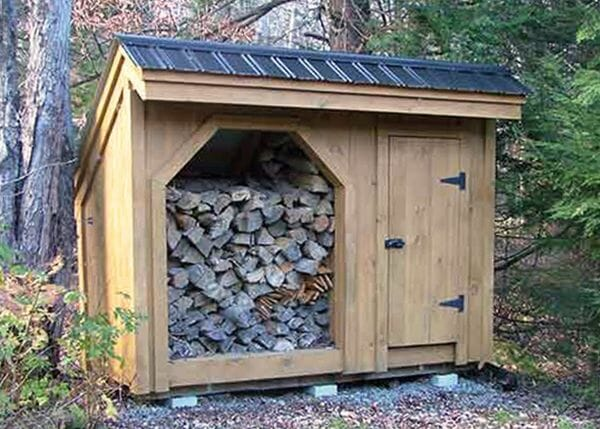 4x10 Weekender firewood and storage shed combo with black metal roof