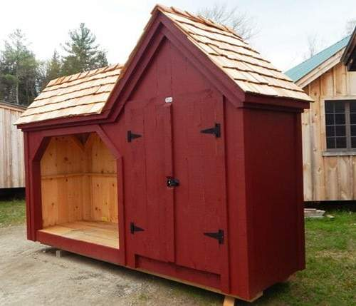 4x14 Vermont Gem post and beam wood shed with cedar shingle roof