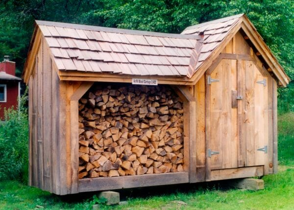4x14 Vermont Gem firewood shed with 4x4 enclosed storage cloest