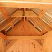 4x4 Outhouse interior rough sawn hemlock framing