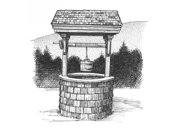 4x4 Wishing Well - post and beam hemlock, pine and cedar construction