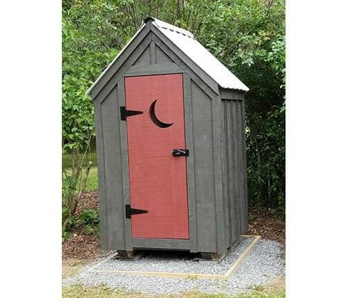4x4 Outhouse Shed custom built with white metal roof. The siding was painted brown and the door was painted red.