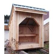 4x6 Bus Stop with green roof and built in bench. A post and beam shelter