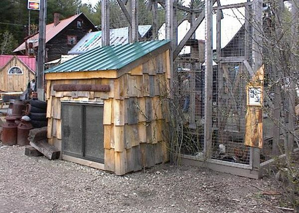 4x6 Coop with cedar shake siding and slider window set against a large, netted, open air structure.