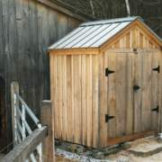 6x4 Utility Shed with battens and a charcoal gray metal roof color upgrade