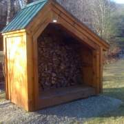 4x8 Hearthstone with floor system, pine siding and green metal roof