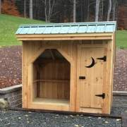 4x8 Weekender firewood storage shed with crescent moon door cut out