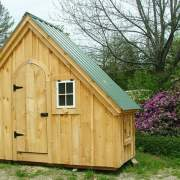 6x10 Hardware Shed as Chicken Coop with coop door on one side.